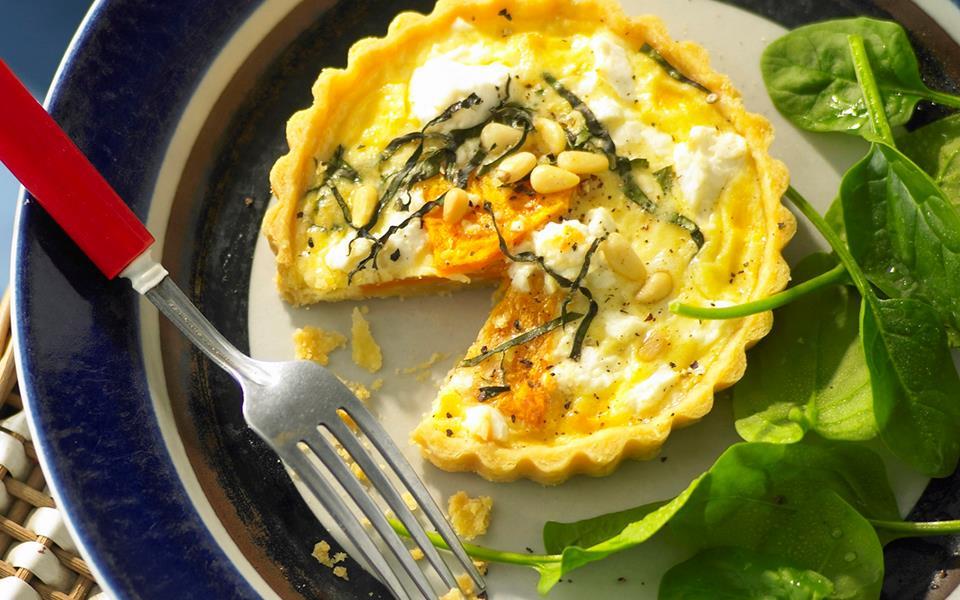 Pumpkin, feta and basil quiche recipe | FOOD TO LOVE