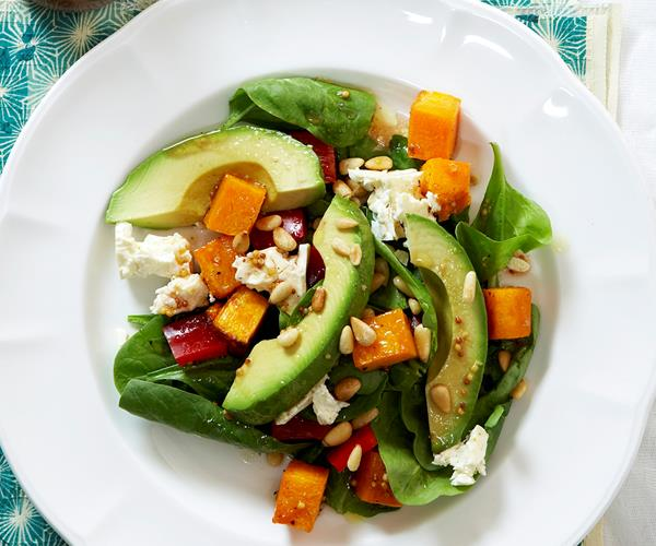 Pumpkin, Feta and Spinach Salad Recipe with Pine Nuts recipe | Food To ...