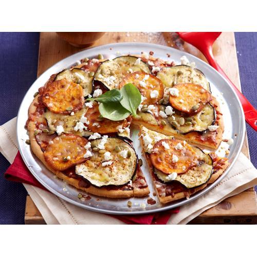 Roast pumpkin, eggplant and feta pizza recipe   Food To Love