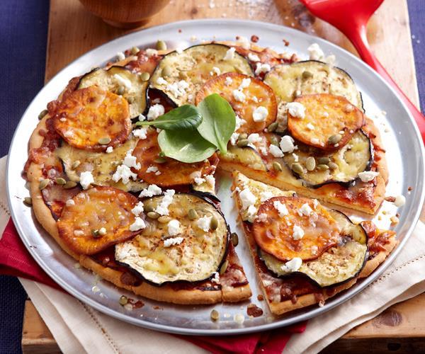Roast pumpkin, eggplant and feta pizza recipe | Food To Love