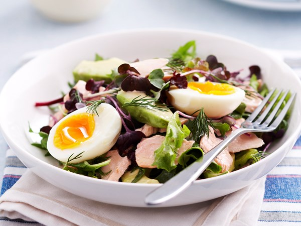 Salmon, avocado and egg salad