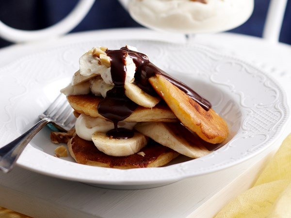 Walnut cream pikelet stack