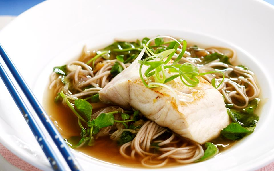 Watercress soba noodle soup with pan-fried fish recipe | FOOD TO LOVE