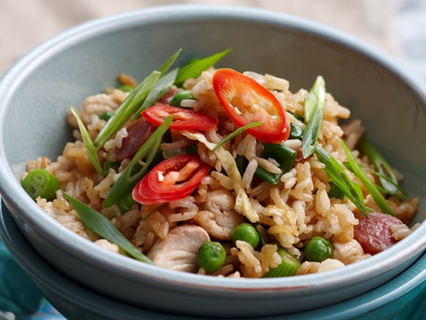 Chicken and sausage fried rice