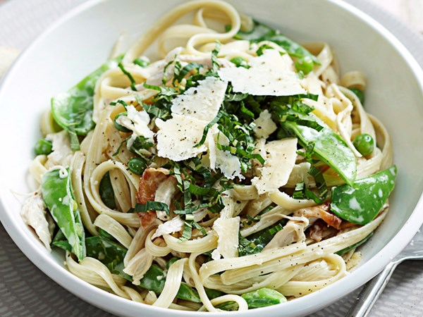 Chicken, pea and mint fettuccine