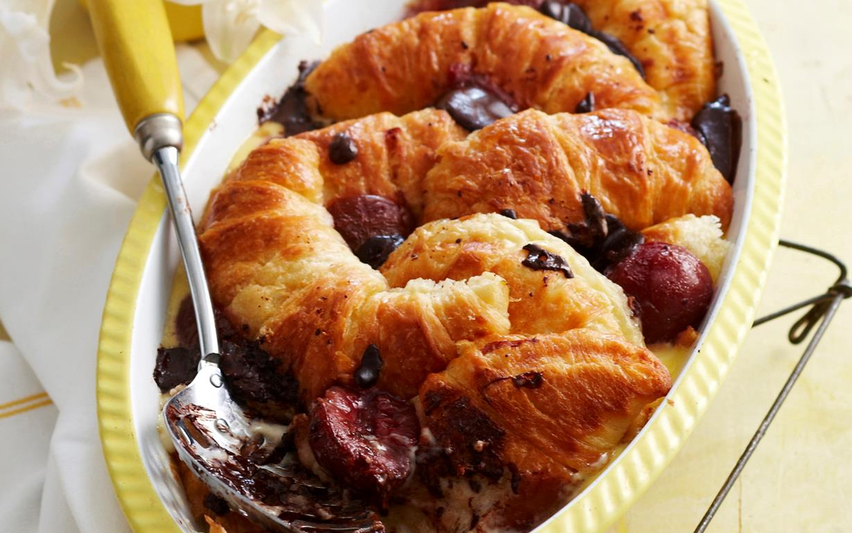 Chocolate croissant and plum pudding recipe | Food To Love