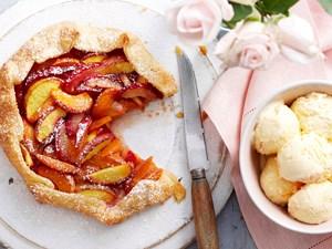 Freeform peach, plum and apricot pie