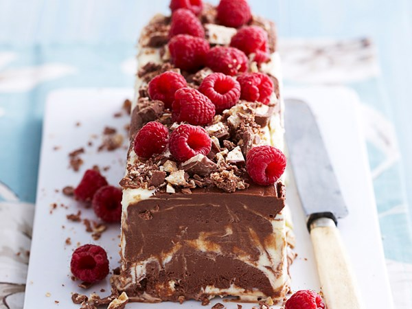 Frozen chocolate nougat mousse log