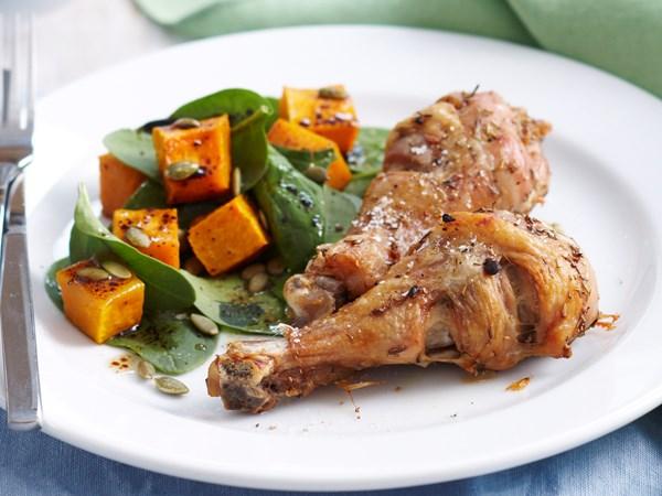 Paleo herb roasted chicken with pumpkin salad