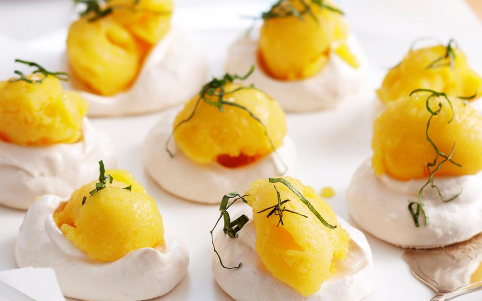 Lime meringues with mango basil sorbet recipe | FOOD TO LOVE