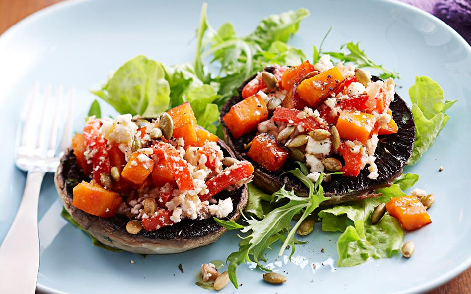 Pumpkin and feta-stuffed mushrooms recipe | FOOD TO LOVE