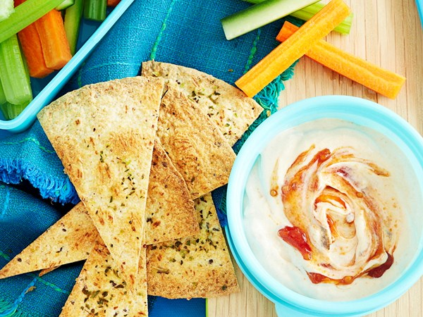 Relish dip with wholemeal chips
