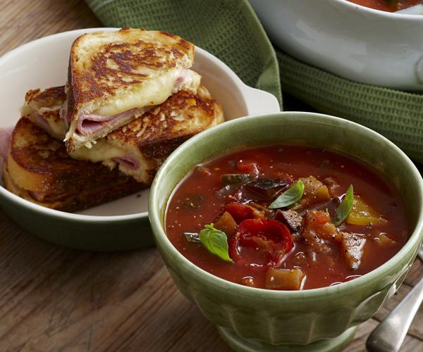 Roasted ratatouille soup with croque monsieur recipe ...