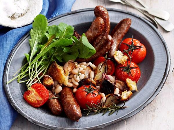 Sausage, bean and tomato bake