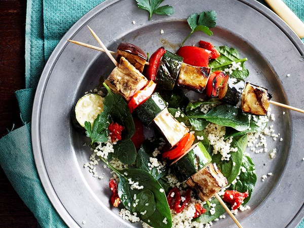 Vegie skewers with parsley and cashew pesto