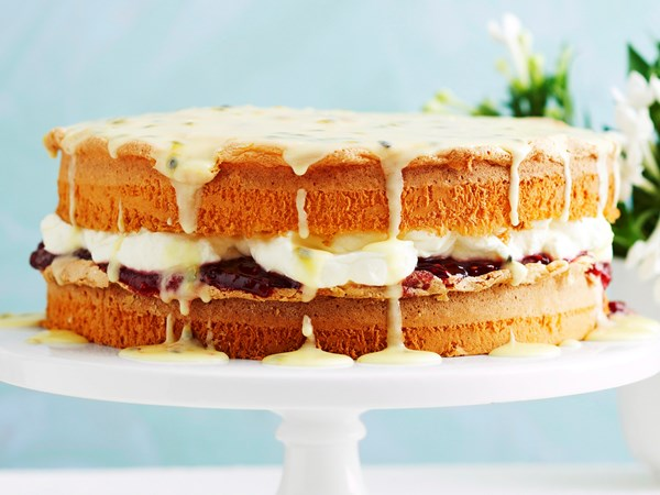 Victoria sponge with passionfruit icing