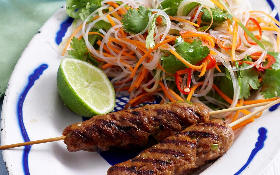 Vietnamese pork skewers with noodle salad recipe | FOOD TO ...
