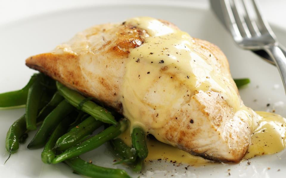 pan fried fish with beans and hollandaise sauce recipe