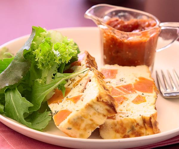 Sweet potato and ricotta terrine with spicy tomato sauce for Tomato terrine