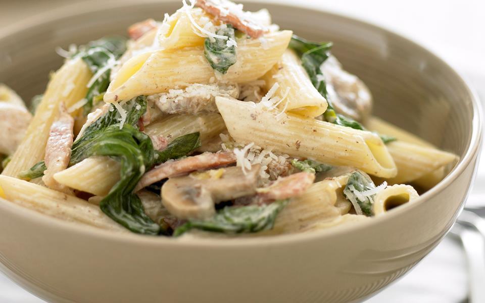 Bacon and mushroom pasta recipe | FOOD TO LOVE
