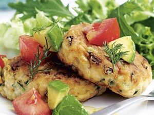 Salmon patties with avocado and dill salsa