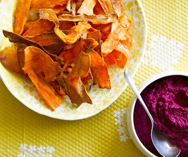 Beetroot hummus with kumara crisps recipe | Food To Love