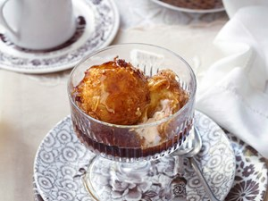 Deep fried ice-cream with coffee syrup