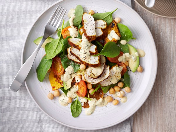Grilled chicken, pumpkin and chickpea salad