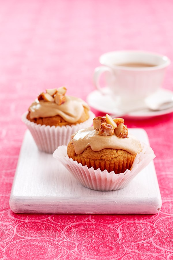 Butterscotch cupcakes with coffee icing
