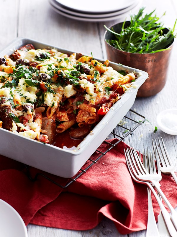 Italian sausage, olive and ricotta pasta bake