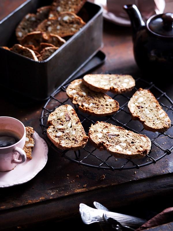 Macadamia and chocolate biscotti