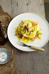Open seafood ravioli