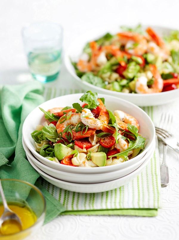 Prawn and tomato pasta salad