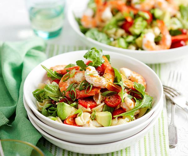 Prawn and tomato pasta salad recipe food to love for Prawn and pasta salad recipes