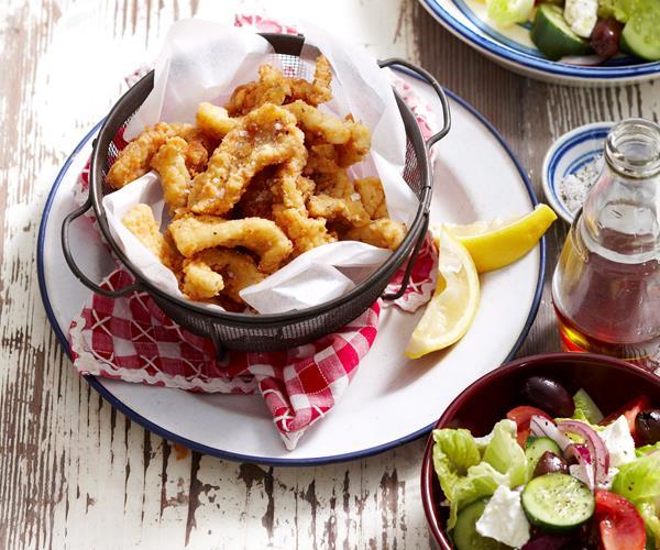 Crispy Calamari With Greek Salad Recipe Food To Love