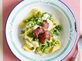 Baby pea pasta with pancetta and goat's cheese