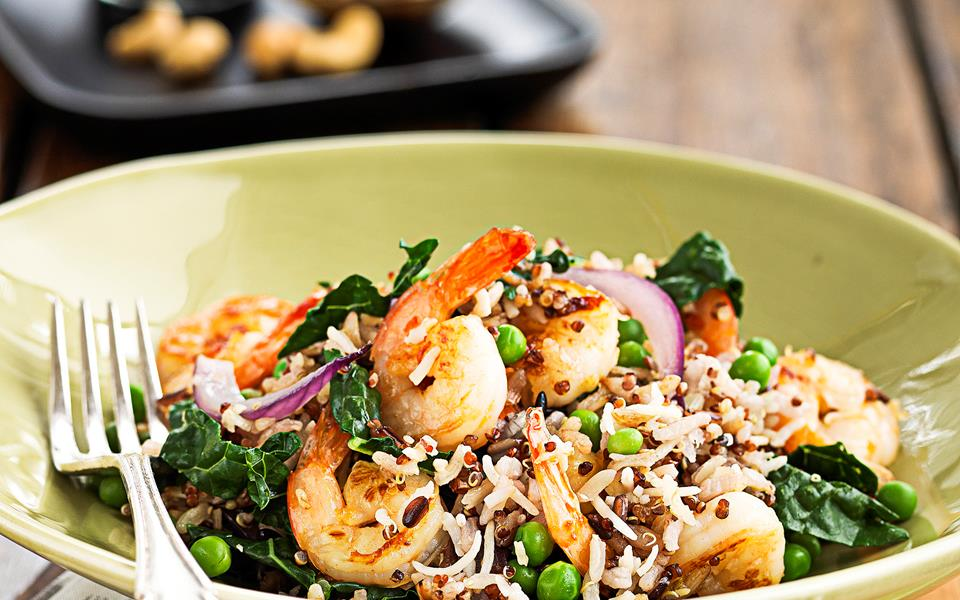 Fried wild rice with prawns and peas recipe | FOOD TO LOVE