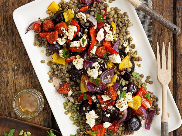 Roasted vegetable and green lentil salad