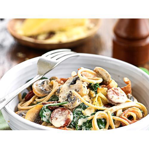 Wholemeal spaghetti with creamy bacon and mushrooms recipe ...