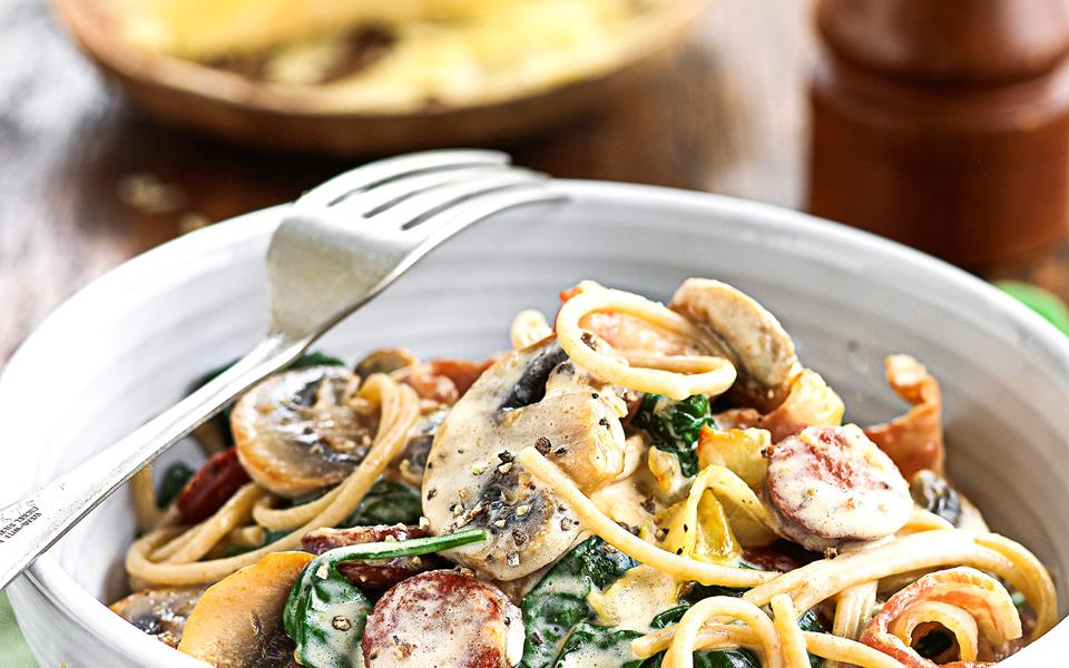Wholemeal spaghetti with creamy bacon and mushrooms recipe | FOOD TO ...