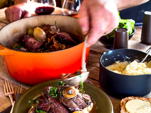 Coq au vin with parsnip mash