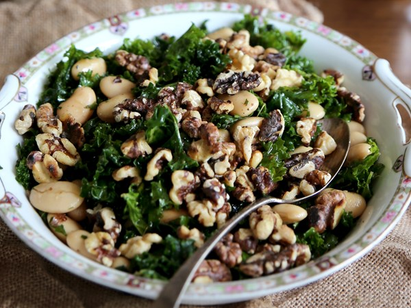 Massaged kale and butter bean salad with toasted walnuts and minted vinaigrette