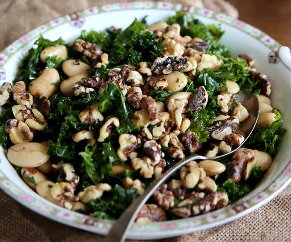Massaged kale and butter bean salad with toasted walnuts and minted ...