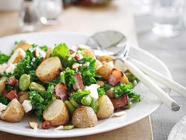 Warm potato and broad bean salad with bacon and feta