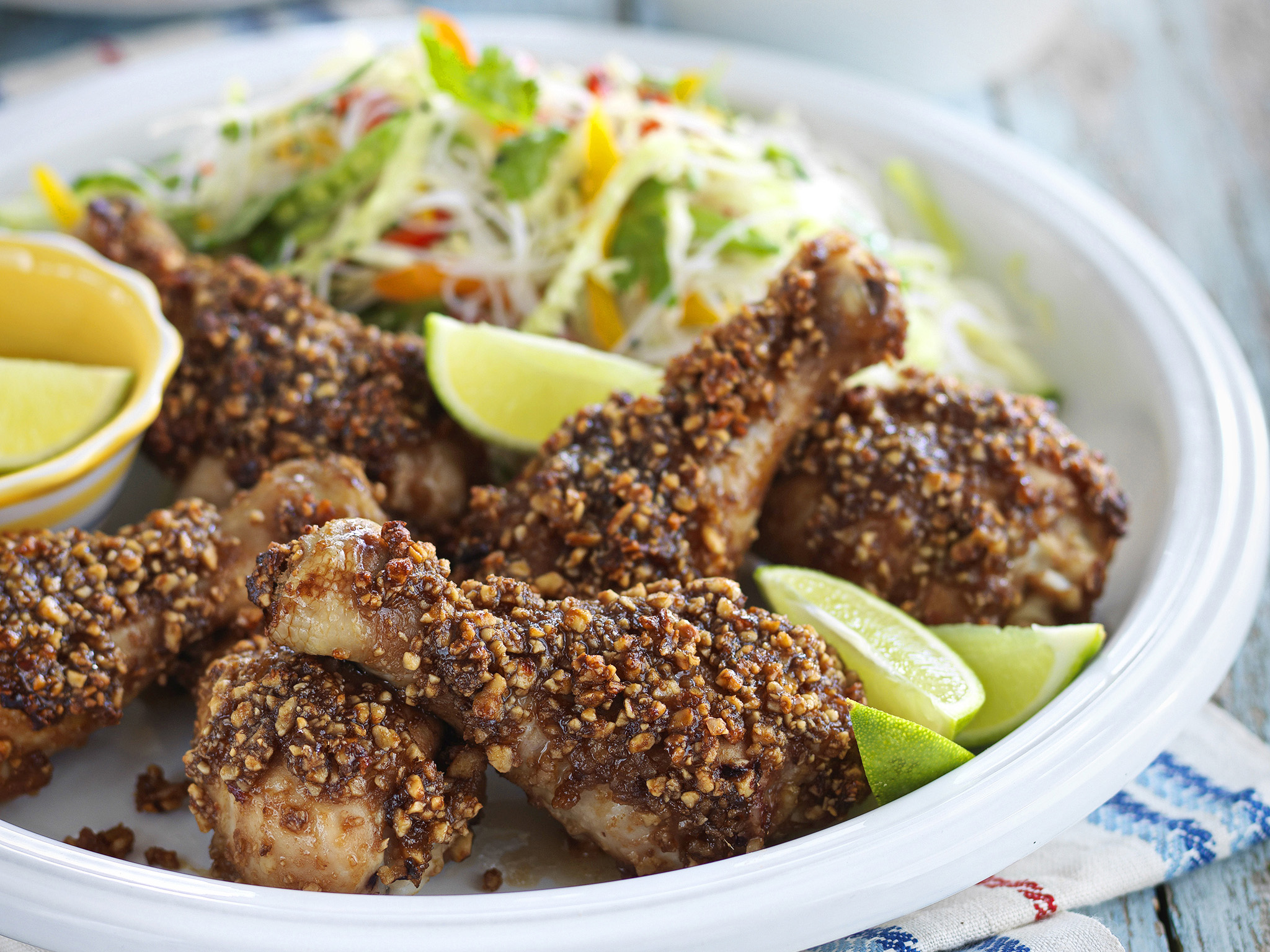 Chicken satay drumsticks with noodle salad recipe food to love forumfinder Gallery