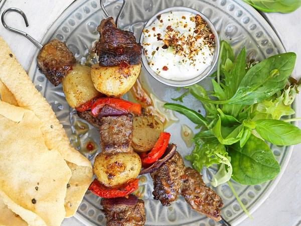 Beef rogan josh kebabs