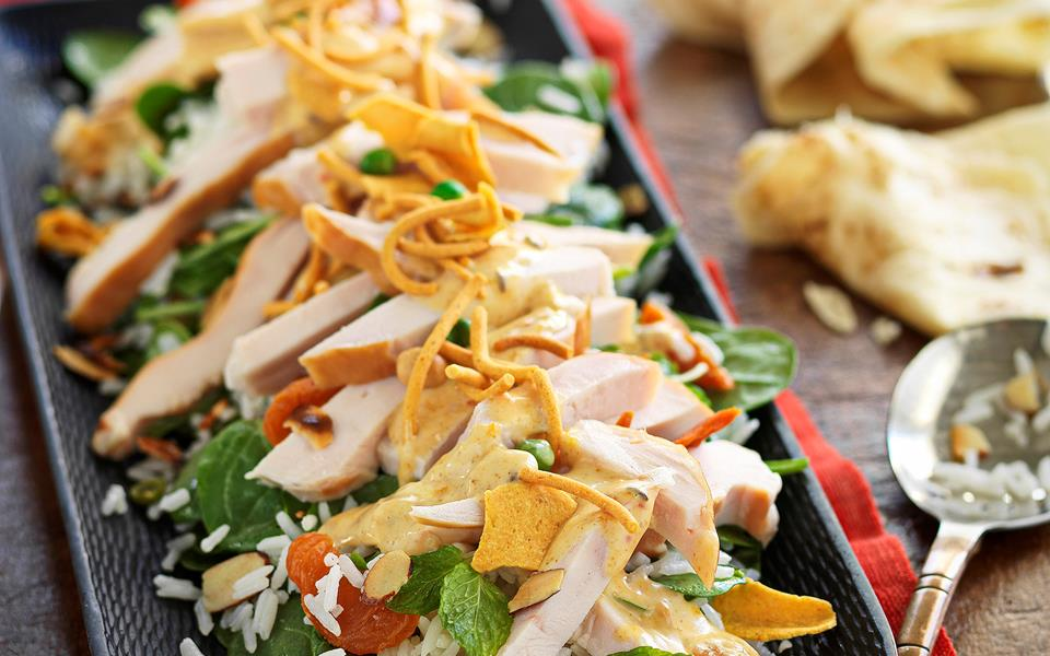 Smoked chicken rice salad with curried mango dressing recipe | FOOD TO ...