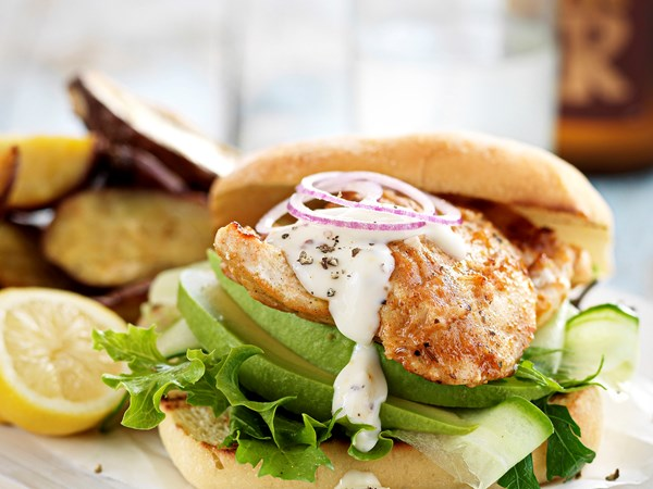 Seared chicken burgers