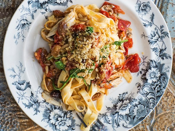 Tagliatelle with vine tomatoes, white anchovies and breadcrumbs