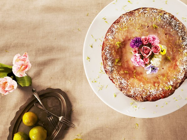 Lime and almond cake with orange blossom syrup